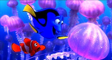 Dory and Nemo with the jellyfish