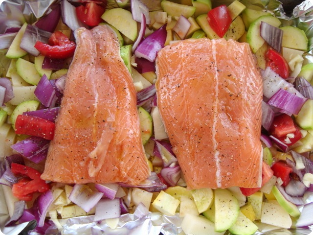 Cooking organic salmon dinner