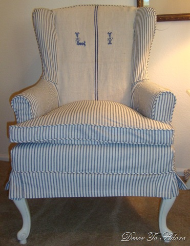 blue ticking wingchairs