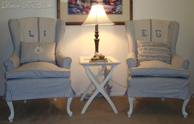 Wingchairs Slipcovered in Ticking