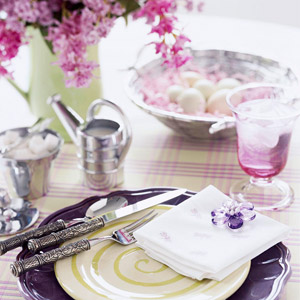purple and green place setting