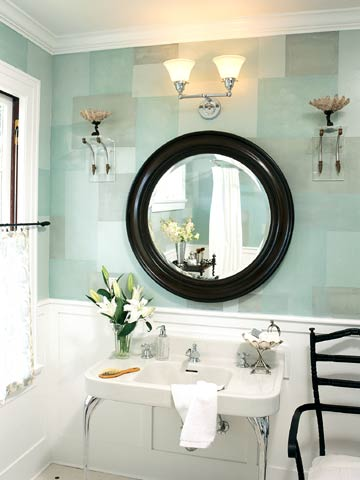 DecGalFall2004_Mint Green Geometric Bathroom With White Accents and Black Round Mirror