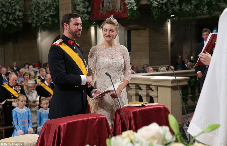 Princess Stephanie of Luxembourg and Crown Prince Guillaume of Luxembourg exchanging their vows