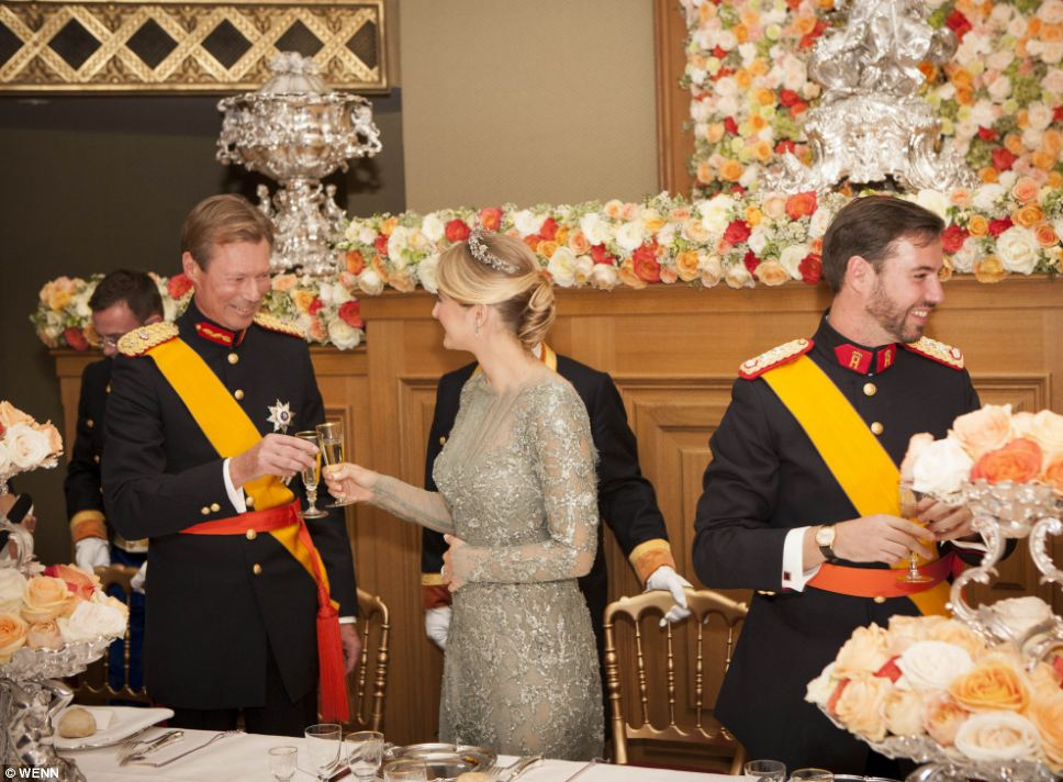 Grand Duke Henri of Luxembourg, Countess Stephanie de Lannoy and Hereditary Grand Duke Guillaume of Luxembourg at the gala dinner