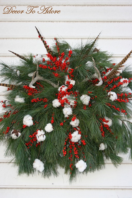 christmas cotton boll wreath