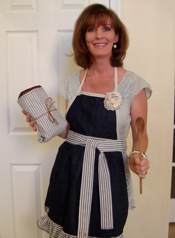 Denim and ticking apron