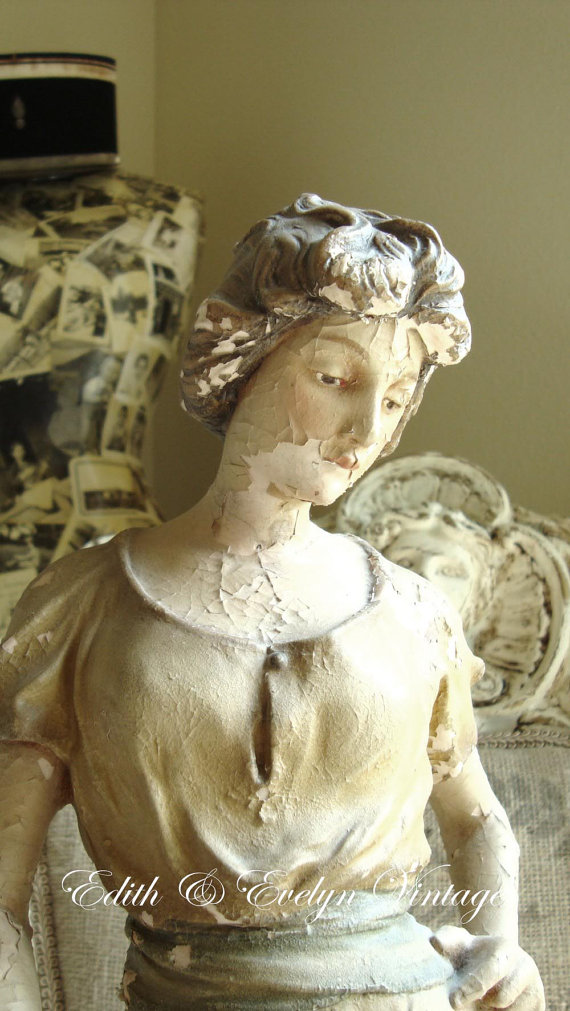RESERVE for AC: Antique French Statue, Paris France, Foundry Mark, 19th century, Girl with Water Jar