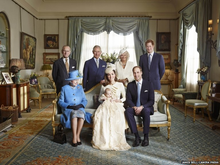 The official portrait for the christening of Prince George Alexander Louis of Cambridge, photographed in The Morning Room at Clarence House in London on October 23rd 2013. PICTURED: (back, left-right) HRH The Duke of Edinburgh, HRH Prince of Wales, HRH The Duchess of Cornwall, HRH Prince Harry of Wales; (front, left-right) HM Queen Elizabeth II, HRH Duchess of Cambridge carrying HRH Prince George with HRH Duke of Cambridge