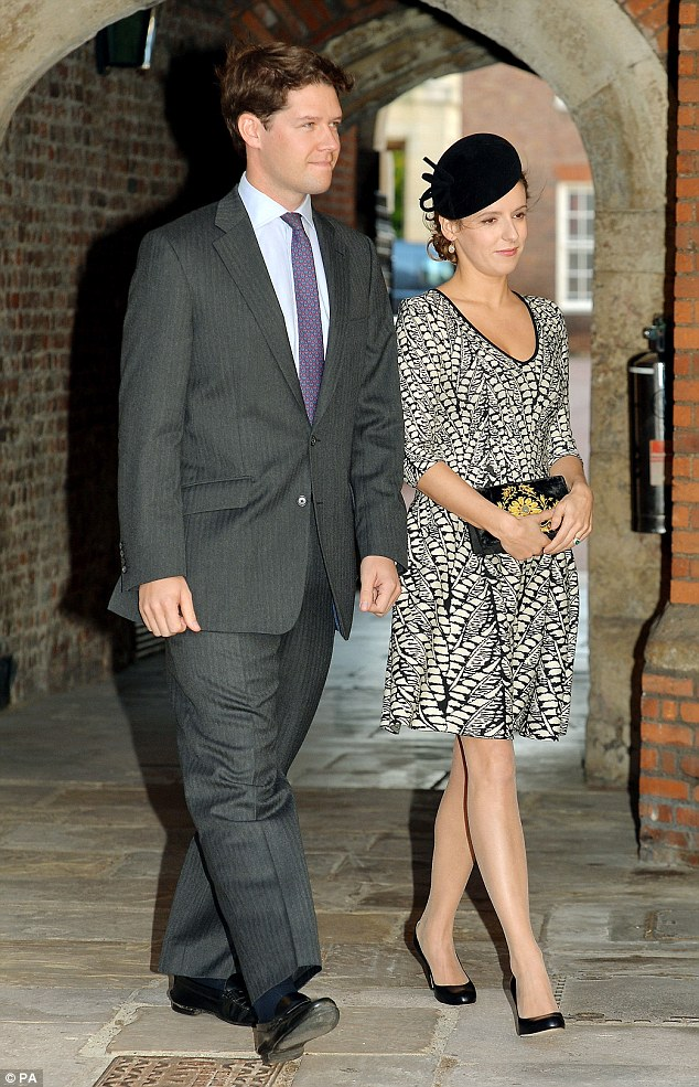 Godmother: Kate's old schoolfriend Emilia Jardine-Paterson and her husband David arriving at the Chapel Royal