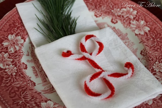 Candy Cane Initial and A Pocket Fold Napkin
