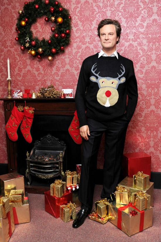 Colin Firth in holiday sweater