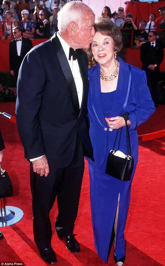 Longtime love: Shirley Temple and her husband Charles Aiden Black at the Oscars in 1998. The couple were married for half a century