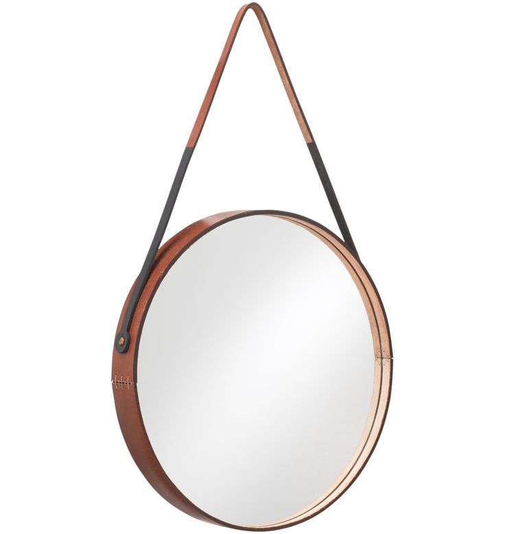 campaign furniture style, Round Leather-Wrapped Mirror | Rejuvenation
