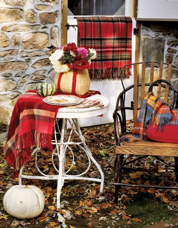 Tartan Throws on Outdoor Table and Chair