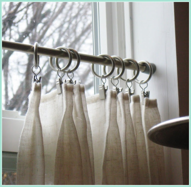 Fabulous french pleat caf curtains in the kitchen
