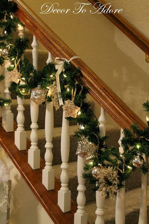 i decorated my very first christmas banister - Banister Christmas Garland Decor