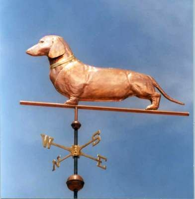 For my friend Robyn!  Dachshund, Short Haired, Standing Dog Weathervane by West Coast Weather Vanes.  This copper  Short Haired Dachshund Dog weathervane features a glass eye and distinctive tooling which gives the body realistic dimensions.  As an option, the use of gold leafing can accentuate any distinct markings of your dog.