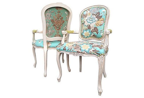French Louis Arm Chairs Dining Accent Upholstered by OrangeNolive