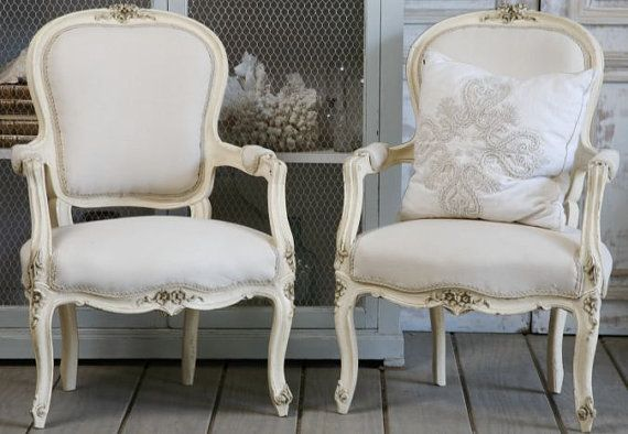 gorgeous shabby chic chairs on my wish list via http://www.etsy.com/listing/76121666/vintage-french-arm-chairs on #etsy