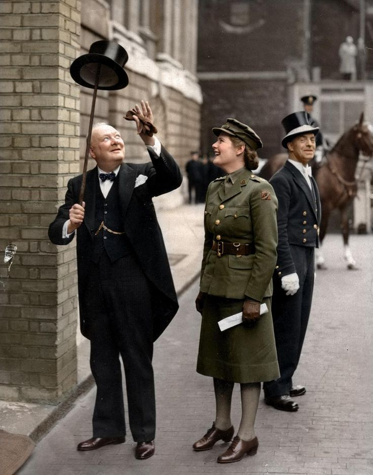 Winston Churchill and his daughter, Mary Spencer Churchill, in London, c. 1943: