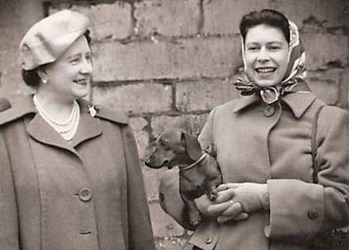 Queen Elizabeth with dachshund