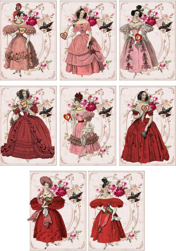 Vintage Jane Austen Valentine Small Note Cards Tags ATC Altered Art Set of 6 | eBay: