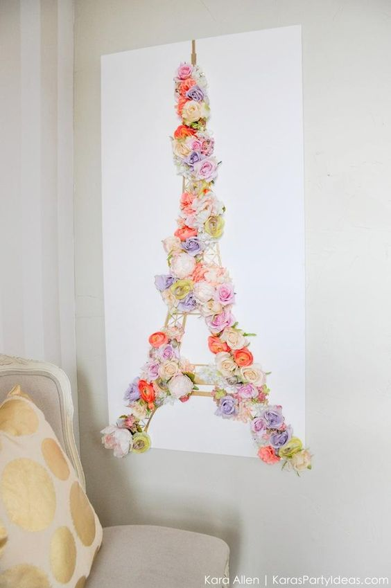 DIY Paris Eiffel Tower Floral and Gold Wall Canvas Springtime Art by Kara Allen | Kara's Party Ideas | KarasPartyIdeas.com #MichaelsMakers: