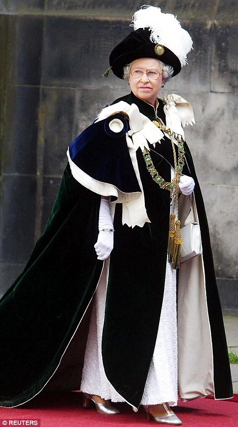 The Queen in her robes at the ceremony in 2003
