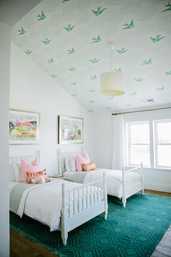 Wallpapered Girl's Bedroom Ceiling: