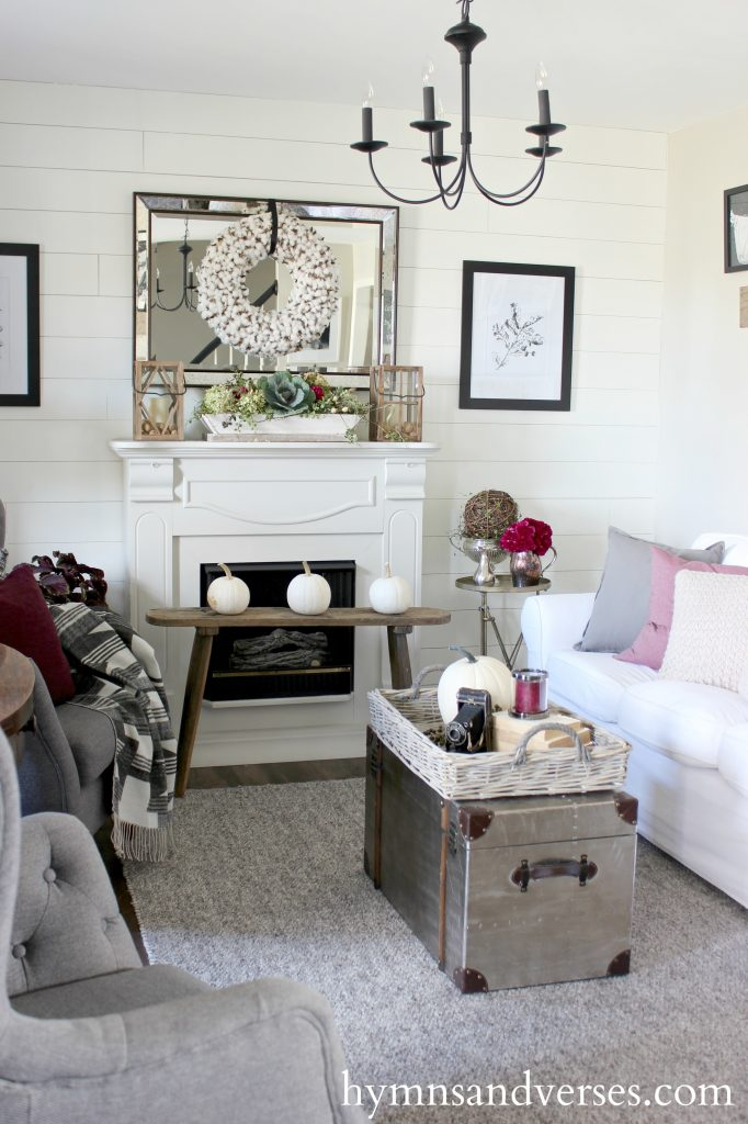 fall-living-room-plum-and-gray - Foraged Fall Home Tour