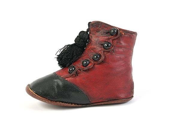 Red and Black Baby Button Shoes with Tassel. 1860-80