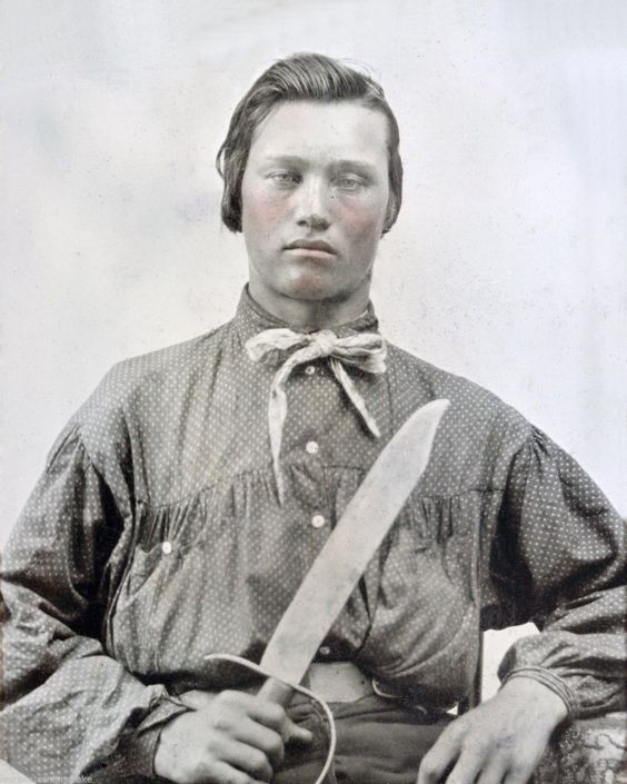 Confederate Soldier Bowie knife, Calico Shirt:
