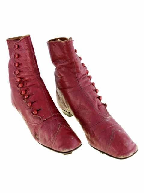 Victorian High Button Boots, Rare Red Color, 1860S