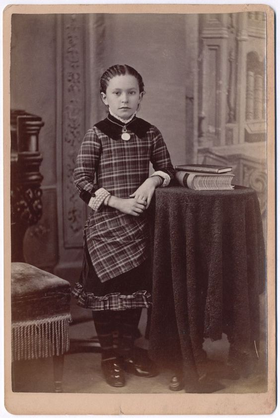 Antique Victorian Photo, Pretty Little Girl in Checkered Dress and Striped Stockings