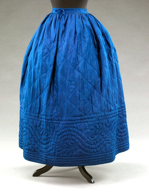 silk petticoat, 1860s quilted for winter warmth: