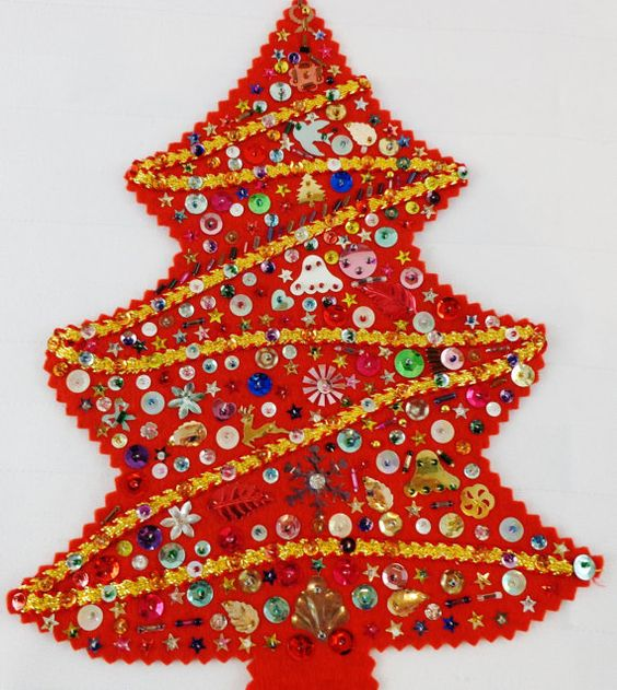 Hand Stitched Sequined Beaded Vintage Felt Christmas Tree Applique Red