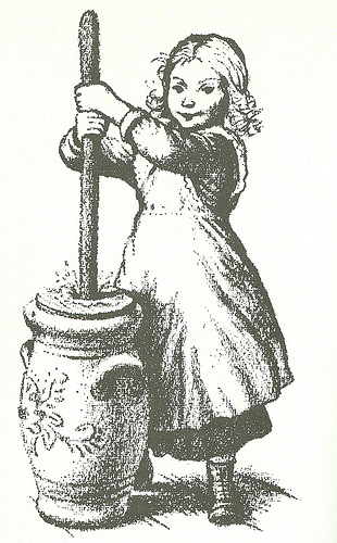Mary churning butter.