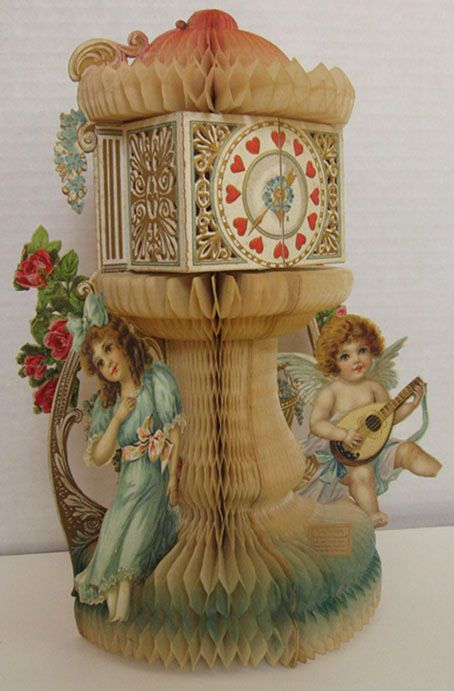 Clock Tower, Cupid ~ Large Antique Honeycomb Valentine:
