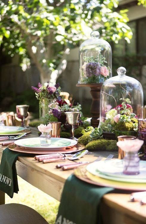 Spring garden table setting: