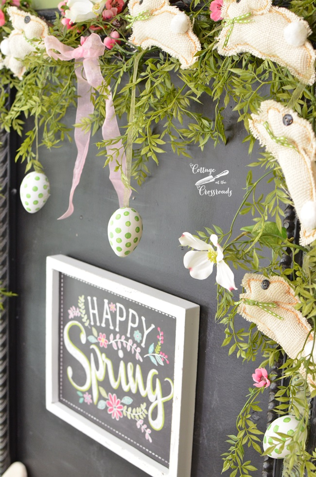 Happy Spring Chalkboard in the Kitchen | Cottage at the Crossroads