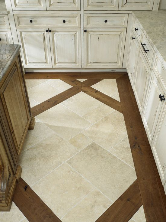 tile floor with wood inlay: