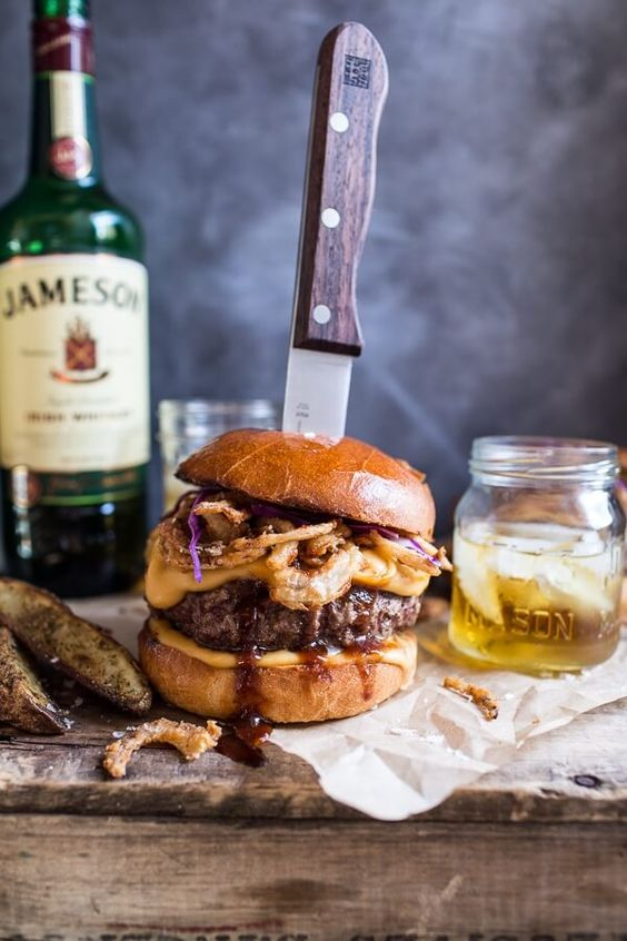 Jameson Whiskey Blue Cheese Burger with Guinness Cheese Sauce + Crispy Onions.: