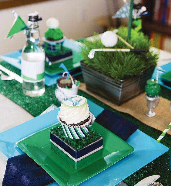 father's-day-golf-party-table-arrangement: