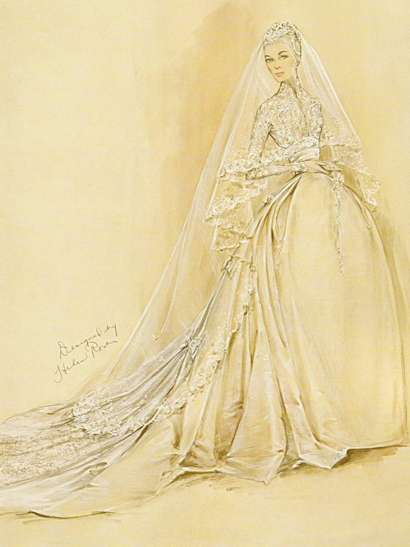 Princess Grace wedding dress sketch