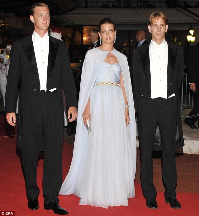 Princess Caroline's children (L-R) Pierre Casiraghi, Charlotte Casiraghi and Andrea Casiraghi looked dapper