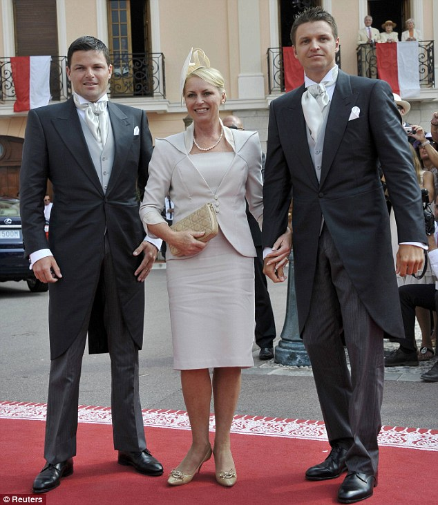 Princess Charlene's mother Lynette Wittstock with her brothers Sean (left) and Gareth arriving at the Place Du Palais