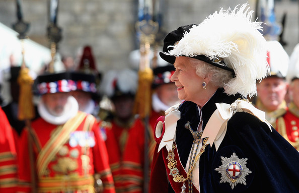 HM Queen Elizabeth II takes part in the Garter Ceremony Procession up to St George's Chapel on June 15, 2009 in Windsor, England. The Order of the Garter is the senior and oldest British Order of Chivalry, founded by Edward III in 1348. Membership in the order is limited to the sovereign, the Prince of Wales, and no more than twenty-four members. (Photo by Chris Jackson/WPA Pool/Getty Images) *** Local Caption *** Queen Elizabeth II