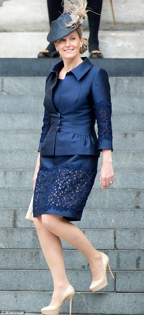 Cut above the rest: Sophie Wessex¿s cut-out skirt suit