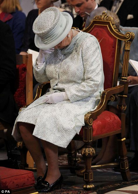 Emotional moment: Queen Elizabeth II wipes her eyes during the thanksgiving service at St Paul's Cathedral