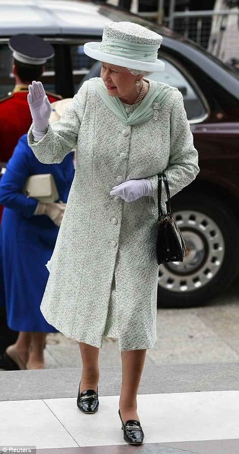 Trusted designer: The Queen's long-serving couturier Angela Kelly designed the monarch's spectacular outfit today, a vision in mint green with glittering crystals and flowing chiffon